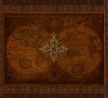 Antique Steampunk Compass Rose & Map by Skye Ryan-Evans