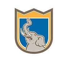 Elephant Head Roaring Trunk Up Shield Cartoon by patrimonio