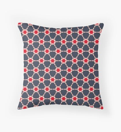 Abstract  navy & red patern Throw Pillow
