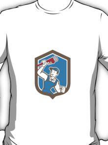 Plumber Holding Monkey Wrench Shield Cartoon T-Shirt