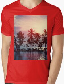 Sunset at a coastline with palm trees Mens V-Neck T-Shirt