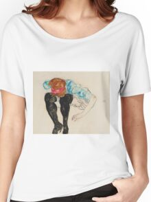Egon Schiele - Blond Girl, Leaning forward with Black Stockings (1912)  Women's Relaxed Fit T-Shirt