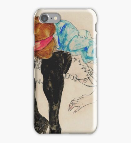 Egon Schiele - Blond Girl, Leaning forward with Black Stockings (1912)  iPhone Case/Skin