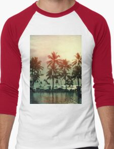 Sunset at a coastline with palm trees Men's Baseball ¾ T-Shirt