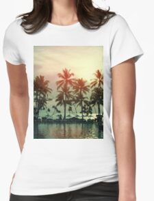 Sunset at a coastline with palm trees Womens Fitted T-Shirt