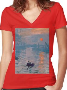 Claude Monet - Impression Sunrise 1872 Women's Fitted V-Neck T-Shirt