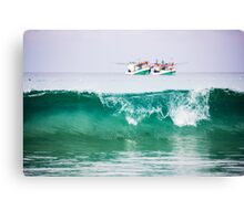 Seascape with two boats on horizon Canvas Print