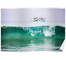 Seascape with two boats on horizon Poster