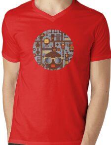 Robots blue Mens V-Neck T-Shirt