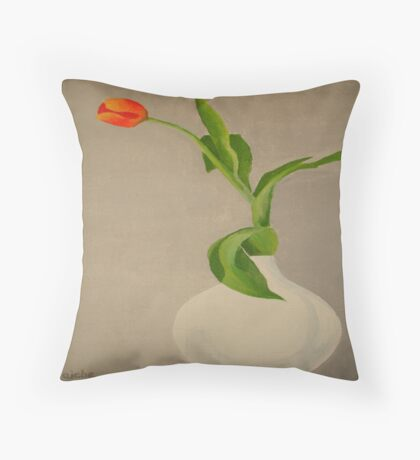 Single Red Tulip In A White Vase Throw Pillow
