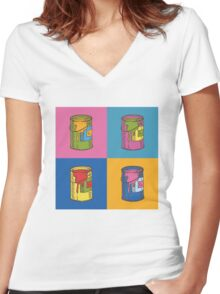 Pop Art Tin Cans Women's Fitted V-Neck T-Shirt
