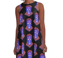 Skull and Roses (small, tiled design) A-Line Dress