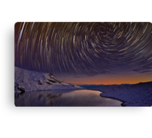 Star Trails over Frozen Lake Canvas Print