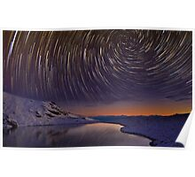 Star Trails over Frozen Lake Poster