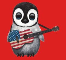 Baby Penguin Playing American Flag Guitar Red Kids Tee