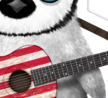 Baby Penguin Playing American Flag Guitar Red Sticker