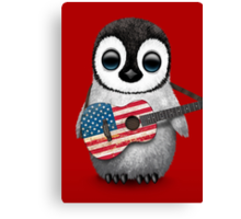 Baby Penguin Playing American Flag Guitar Red Canvas Print