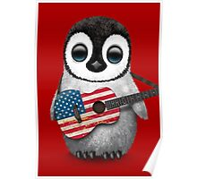 Baby Penguin Playing American Flag Guitar Red Poster
