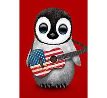 Baby Penguin Playing American Flag Guitar Red Photographic Print