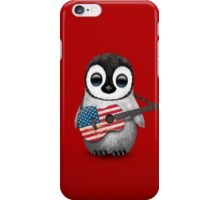 Baby Penguin Playing American Flag Guitar Red iPhone Case/Skin