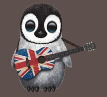 Baby Penguin Playing British Flag Guitar Red Kids Clothes