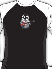 Baby Penguin Playing British Flag Guitar Red T-Shirt
