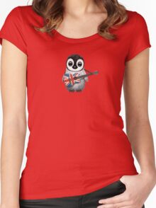 Baby Penguin Playing British Flag Guitar Red Women's Fitted Scoop T-Shirt