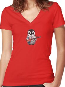 Baby Penguin Playing British Flag Guitar Red Women's Fitted V-Neck T-Shirt