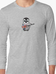 Baby Penguin Playing British Flag Guitar Red Long Sleeve T-Shirt