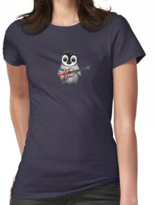 Baby Penguin Playing British Flag Guitar Red Womens Fitted T-Shirt