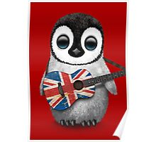 Baby Penguin Playing British Flag Guitar Red Poster