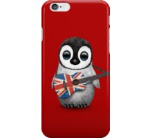 Baby Penguin Playing British Flag Guitar Red iPhone Case/Skin