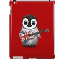 Baby Penguin Playing British Flag Guitar Red iPad Case/Skin