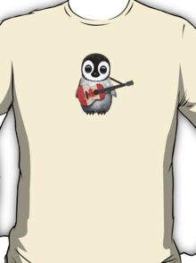 Baby Penguin Playing Canadian Flag Guitar Red T-Shirt