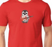 Baby Penguin Playing Canadian Flag Guitar Red Unisex T-Shirt