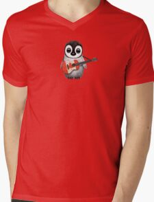 Baby Penguin Playing Canadian Flag Guitar Red Mens V-Neck T-Shirt
