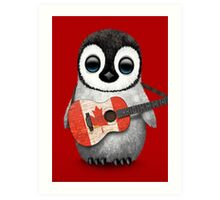 Baby Penguin Playing Canadian Flag Guitar Red Art Print