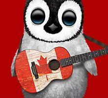 Baby Penguin Playing Canadian Flag Guitar Red by Jeff Bartels