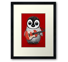 Baby Penguin Playing Canadian Flag Guitar Red Framed Print