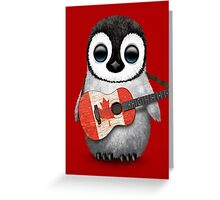 Baby Penguin Playing Canadian Flag Guitar Red Greeting Card
