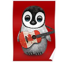 Baby Penguin Playing Canadian Flag Guitar Red Poster