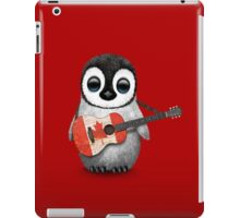 Baby Penguin Playing Canadian Flag Guitar Red iPad Case/Skin