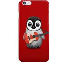 Baby Penguin Playing Canadian Flag Guitar Red iPhone Case/Skin