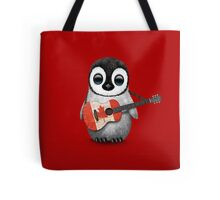 Baby Penguin Playing Canadian Flag Guitar Red Tote Bag