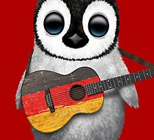 Baby Penguin Playing German Flag Guitar Red by Jeff Bartels