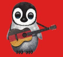Baby Penguin Playing German Flag Guitar Red Kids Clothes