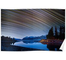 Calm Mountain Lake startrails Poster