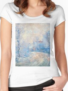 Claude Monet - The Entrance To Giverny Under The Snow Women's Fitted Scoop T-Shirt