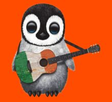 Baby Penguin Playing Irish Flag Guitar Red Kids Clothes