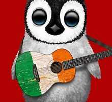 Baby Penguin Playing Irish Flag Guitar Red by Jeff Bartels